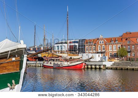 Greifswald, Germany - April 17, 2019: Old Wooden Sailing Ships In The Harbor Of Greifswald, Germany
