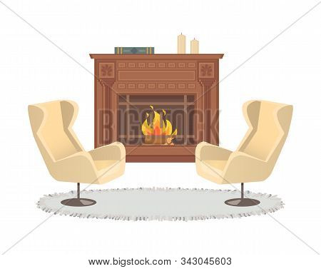Fireplace With Vase Decoration And Armchairs Interior Vector. Homelike Atmosphere, Carpet On Floor,