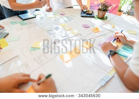 Group Of Office Worker Or College Student Brainstorming In Project Or Meeting,creative Idea,communic