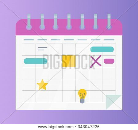 Calendar Or Organizer With Business Affairs And Events Vector. Important Date Or Schedule, Month Wit
