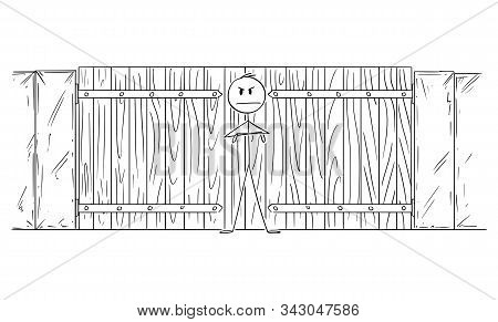 Vector Cartoon Stick Figure Drawing Conceptual Illustration Of Man Or Security Guard Or Patrol Guard