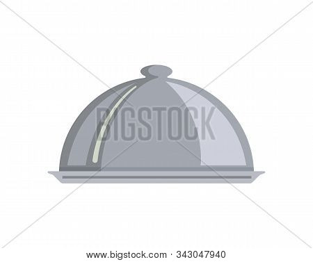 Silver Serving Dome Or Cloche Isolated. Food Served On Plate Vector, Meal Closed With Metallic Cap.