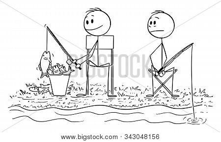 Vector Cartoon Stick Figure Drawing Conceptual Illustration Of Unsuccessful Envious Or Jealous Man F