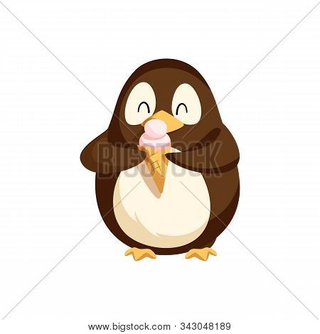 Penguin Happily Eating Ice Cream In Cone Vector. Antarctic Animal With Colored Feathers Enjoying Mea