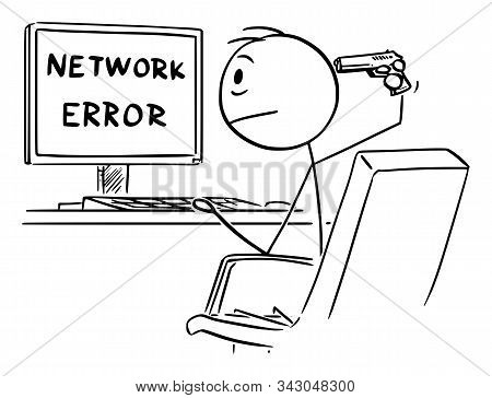 Vector Cartoon Stick Figure Drawing Conceptual Illustration Of Desperate Man Or Businessman Working