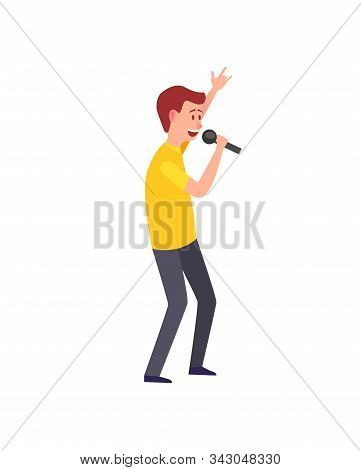 Male Singing, Musician Giving Performance Isolated Vector. Man Performer Entertaining, Funny Charact