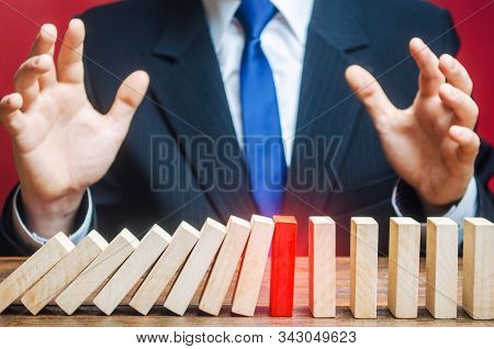 Businessman Is Surprised By Stop Of Work Process. Error Or Failures, Force Majeure. Elimination Of O