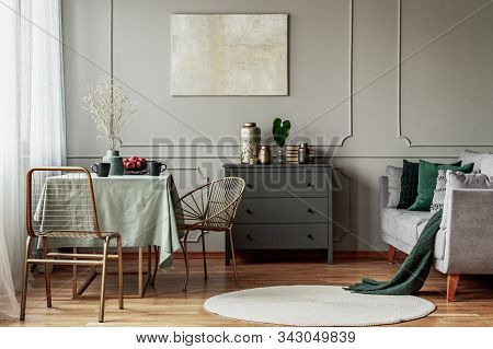 Elegant Living And Dining Room Interior With Green And Grey Design