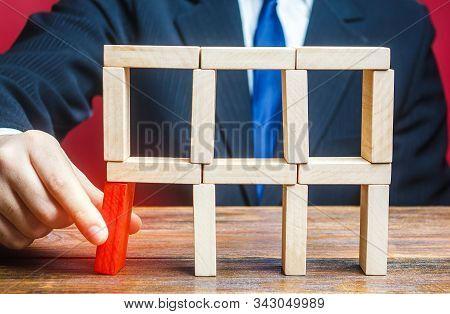 A Businessman Removes An Important Component Which Can Cause Collapse Of Entire System. Making Wrong