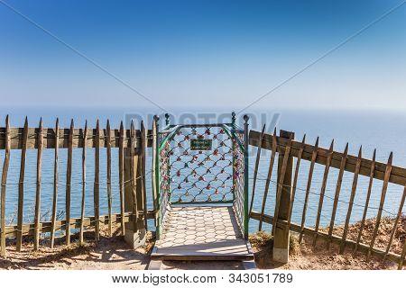Rugen, Germany - April 18, 2019: Viewpoint Victoriasicht In Jasmund National Park On Rugen Island, G