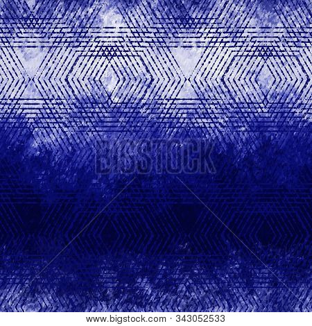 Noisy Faded Grungy Hexagon Ombre Indigo Pattern