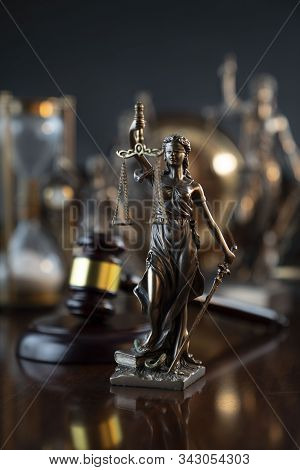 Law Theme. Law Sybols Composition: Themis, Gavel And Scale.