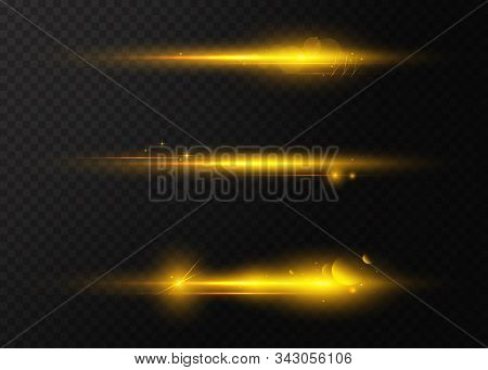 Set Of Flashes, Lights And Sparks. Golden Lights Effects. Bright Rays Of Light. Glowing Lines. Laser