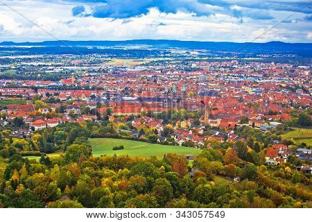 Bamberg. Aerial Panoramic View Of Town Of Bamberg, Upper Franconia, Bavaria Region Of Germany