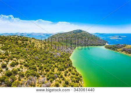 Croatia, Adriatic Seascape, Aerial View Of The Salty Green Lake In Nature Park Telascica, Croatia, D
