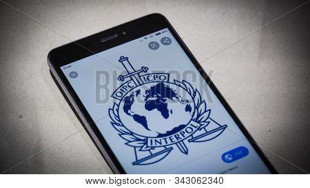 Bordeaux, France - January 04, 2020 : International Criminal Police Organization, Interpol Blue Logo