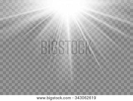 Light Ray Flare Isolated On Transparent Background. Shine Bright Sun Burst Effect. Glow Explosion Fl