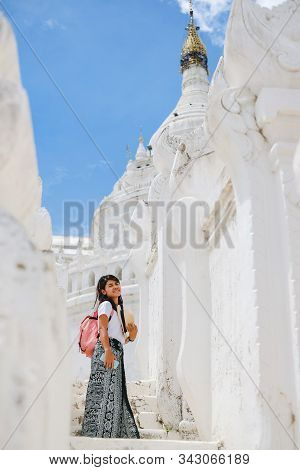 Young Woman Traveling With Bag Visit Hsinbyume Pagoda (mya Thein Dan) Or Called White Taj Mahal Of I