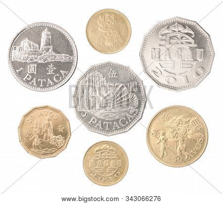 A Complete Set Of Macau Coins In A Heap And Isolated On A White Background