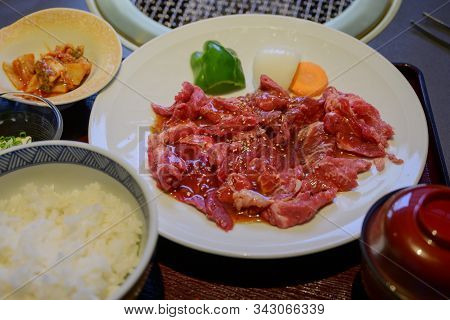 Grilleb Beef Set For Japanese On A Food Background