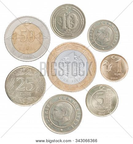 A Full Set Of Turkey Coins In A Heap And Isolated On A White Background