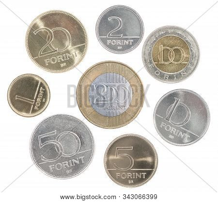 A Full Set Of Hungary Coins In A Heap And Isolated On A White Background