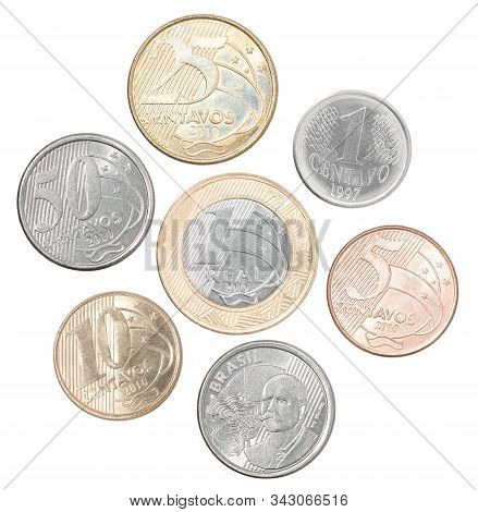 A Full Set Of Brazil Coins In A Heap And Isolated On A White Background