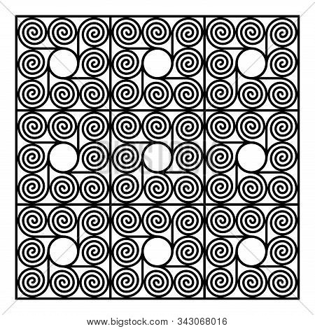 Background Of Nine Square Shaped Tiles, Made Of Eight Arithmetic Spirals Around A Circle. Pattern Of