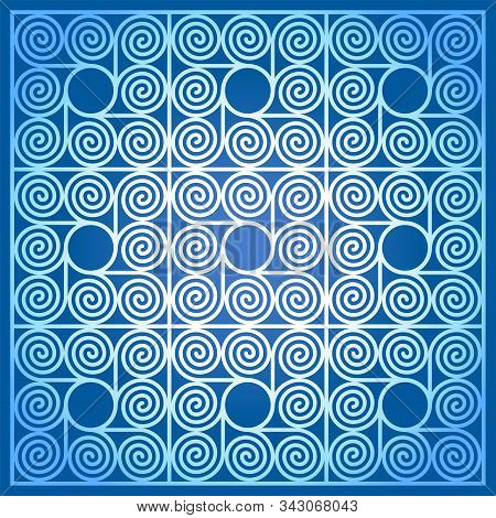 Blue Colored Background Of Nine Square Shaped Tiles, Made Of Arithmetic Spirals Around A Circle. Pat