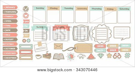 Scrapbook Stickers Or Planner, Calendar And Check List, Isolated Icons