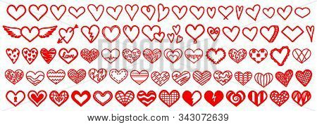 Heart Love Vector Doodle. Heart Outline Hand Drawn Icon. Heart Shape Sketch Sign.heart Vector Big Se