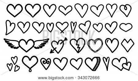Heart. Heart Love Vector Doodle. Heart Outline Hand Drawn Icon. Heart Shape Sketch Sign.