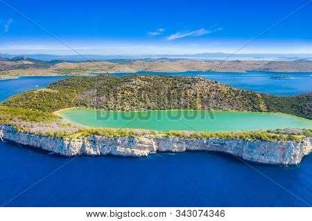 Croatia, Adriatic Seascape, Aerial View Of The Salty Green Lake In Nature Park Telascica, Croatia, D