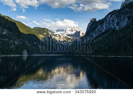 Lake Gosausee Is One Of The Most Beautiful Places In Austrian Alps, The Scenery Around Is Just Breat