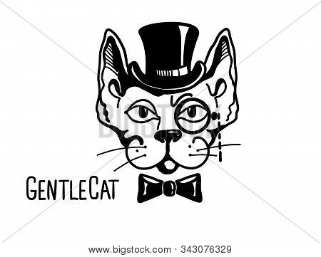 Cat Gentleman With Cylinder Hat And Monocle. Vector Printable Illustration Isolated On White.