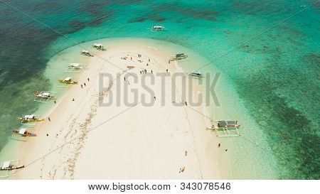 Sandy White Island With Beach And Sandy Bar In The Turquoise Atoll Water, Aerial Drone. Tropical Isl