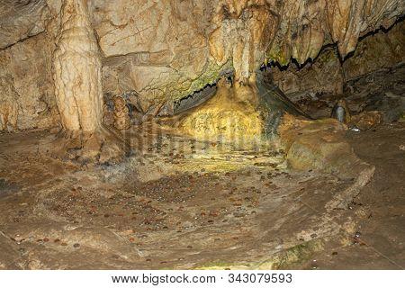 Stalactites And Stalagmites In Valea Cetatii Cave, Rasnov, Romania