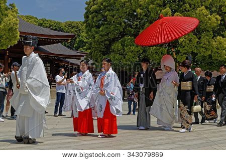 Tokyo, Japan, May 10, 2019 : Wedding At Meiji Temple In Tokyo. Meiji Temple Is A Shinto Shrine That