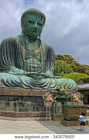 Kamakura, Japan, May 13, 2019 : Kotoku-in. The Temple Is Renowned For Its Great Buddha (daibutsu), A