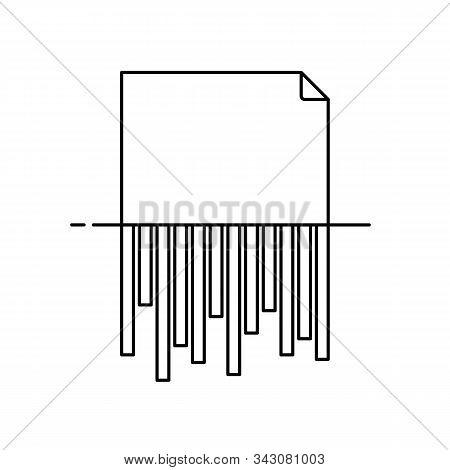 Paper Shredding Icon Outline Document  Shredder Vector Isolated On White Background
