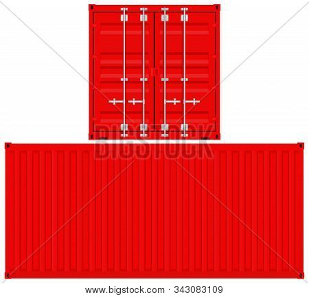 Red Shipping Container. Vector 3d Illustration Isolated On White Background