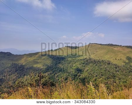 Green Valley Nature Landscape. Mountain Layers Landscape. Summer In Mountain Meadow Landscape. Meado