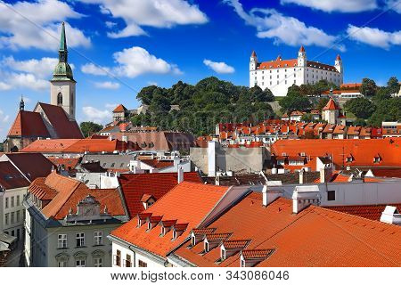 View Of Bratislava Castle Right And St. Martin's Cathedral Left In Bratislava, Slovakia