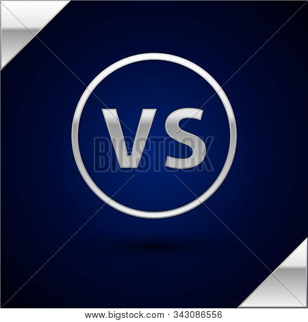 Silver Vs Versus Battle Icon Isolated On Dark Blue Background. Competition Vs Match Game, Martial Ba