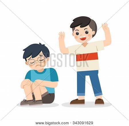 Boy Student Getting Bullied In School.   Sad Boy Sitting On Floor Surrounded By Classmates Mocking H