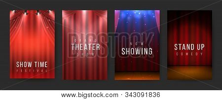 Theater Posters. Red Curtains Stage Flyers, Vintage Scene Textile. Vector Illustration Night Show Ba