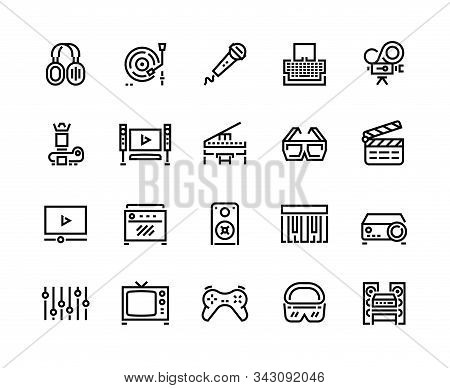 Media Line Icons. Technology And Multimedia Devices, Filmmaking Editing And Watching, Playing And Li