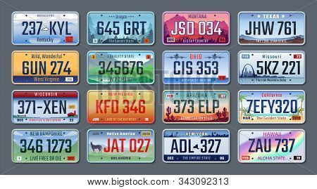 Car Plates. Vehicle License Numbers Of Different American States And Countries, Truck Registration N