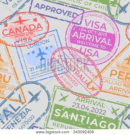 Passport Stamps Pattern. Seamless Page With Airport Arrival And Departure Stamps, Travel And Immigra