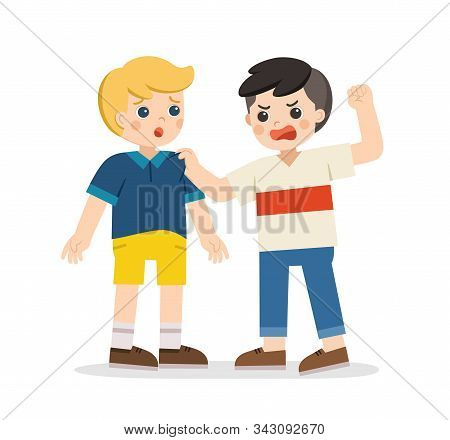 Bullying Children. Angry Boy Rampage Hitting Him Friend. Problem Of Physical Bullying At School. Sad